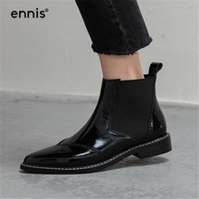 Designer Boots Shoes Low-Heel Pointed-Toe Black Genuine-Leather Women Patent ENNIS Ankle