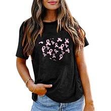 T-Shirt manches courtes Femme Blanc, streetwear vintage avec lettre de sensibilisation au Cancer du sein