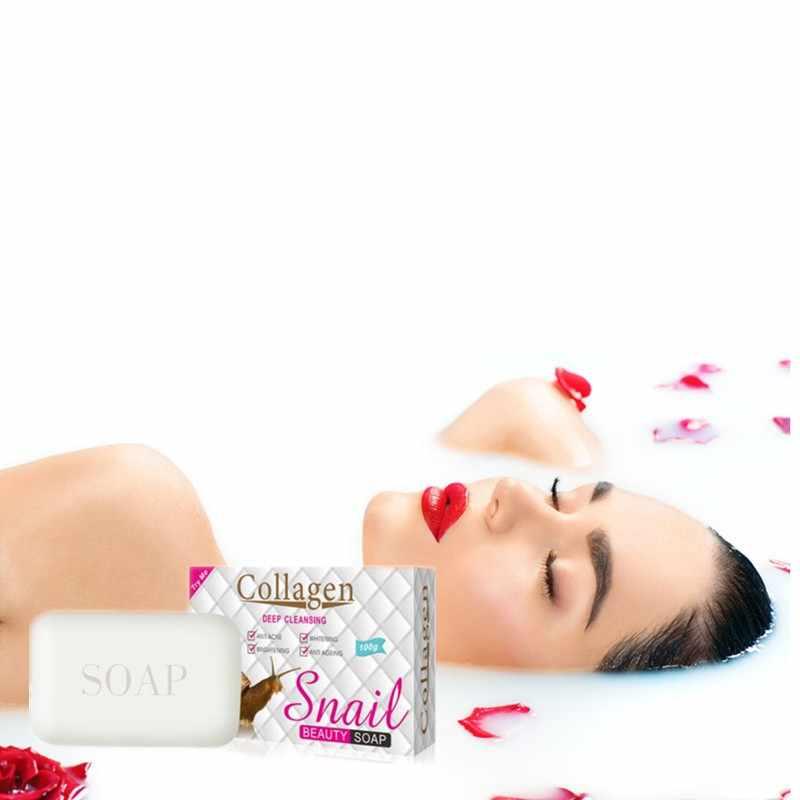 Snail Collagen Essence Pembersihan Sabun Mengisi Air, Mengurangi Melanin Bintik Hitam Menghapus Tungau Membunuh Bakteri Jamur Sabun Mandi