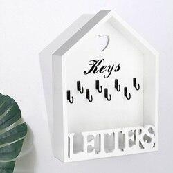 Storage Home Wall Mounted Vintage Key Holder Portable 8 Hooks Office Hanger Decoration Letter Rack Organizer Wooden Cottage