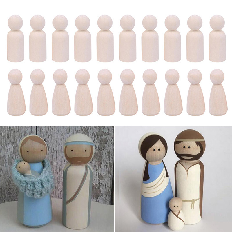 10pcs/set Kits Peg Dolls Unfinished Wooden People Craft Kids Set 34*12mm Non-tonic Accessories Figures High Quality