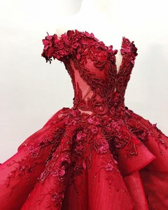 Image 2 - Sweet 16 Dark Red Quinceanera Dresses Off The Shoulder 3D Floral Applique Girls Ball Gown Pageant Gowns Formal Bridal Dress
