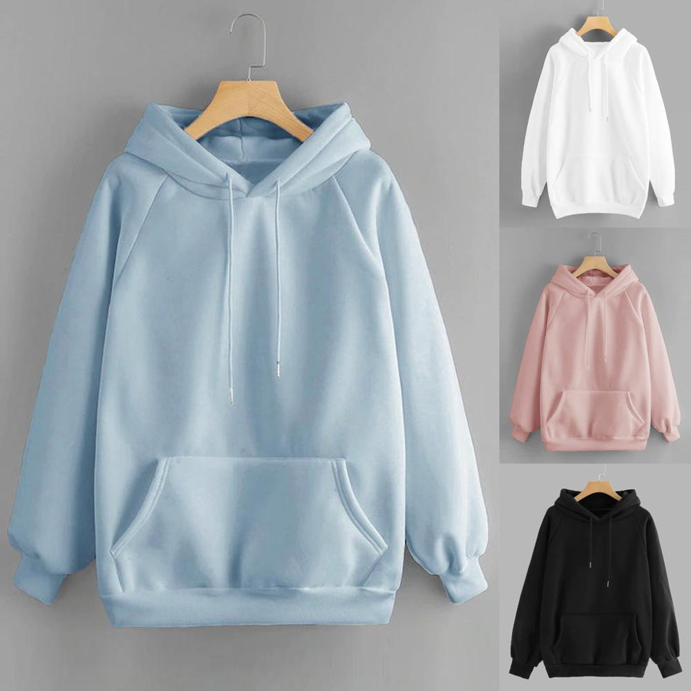 Women Casual Solid Hooded Pocket Long Sleeve Pullover Sweatshirt Winter Harajuku Warm Hoodies Sweatshirts Dropshipping Black