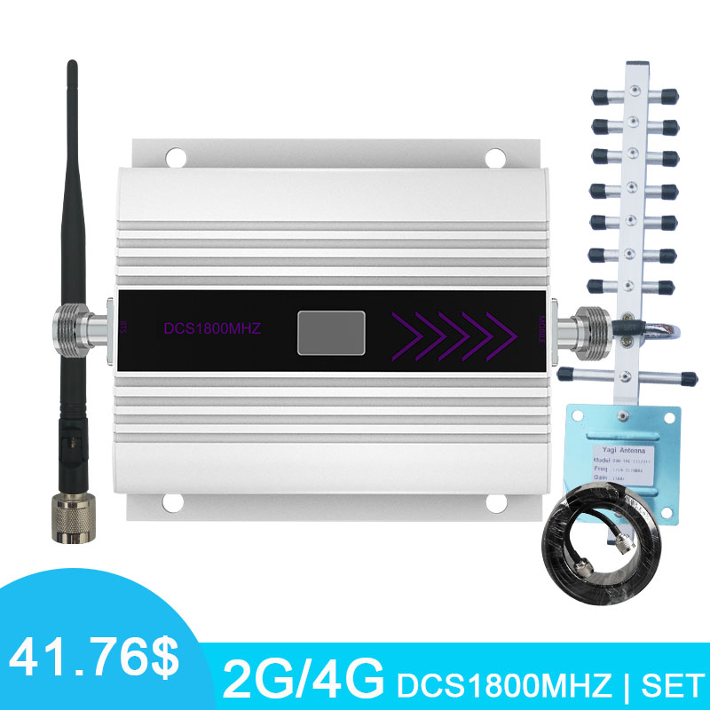 4G LTE DCS 1800MHz Cell Phone Signal Amplifier Repeater 2G Cellular Signal Amplifier LCD Display With Whip+Yagi Antenna Kits *