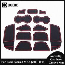 Anti Slip Poort Slot Beker Mat Voor Ford Focus 3 MK3 2011 2012 2013 2014 Interieur Accessoires Rubber Mat cup Houders Coaster