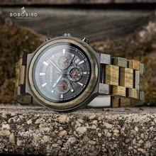 BOBO VOGEL Männer Holz Quarz Armbanduhr Retro Grün Sandelholz Zeitmesser Multifunktionale Chronograph Nehmen Kunden reloj hombre