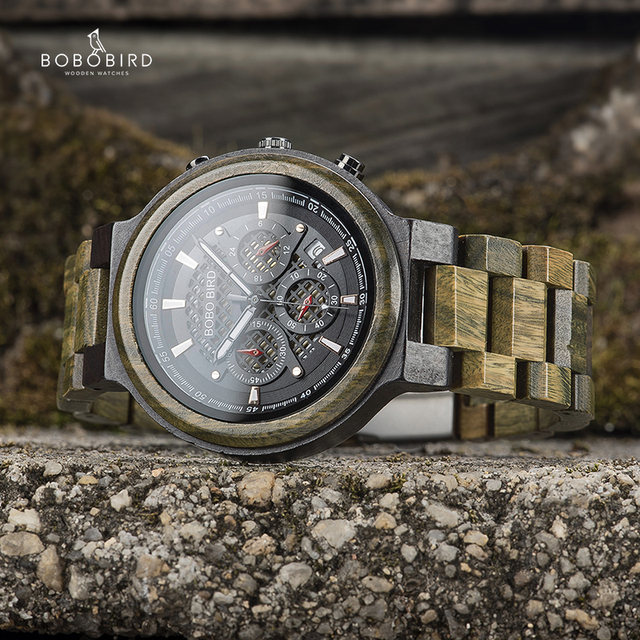 Bobo Vogel Mannen Hout Quartz Horloge Retro Groene Sandelhout Uurwerk Multifunctionele Chronograaf Accepteren Aangepaste Reloj Hombre