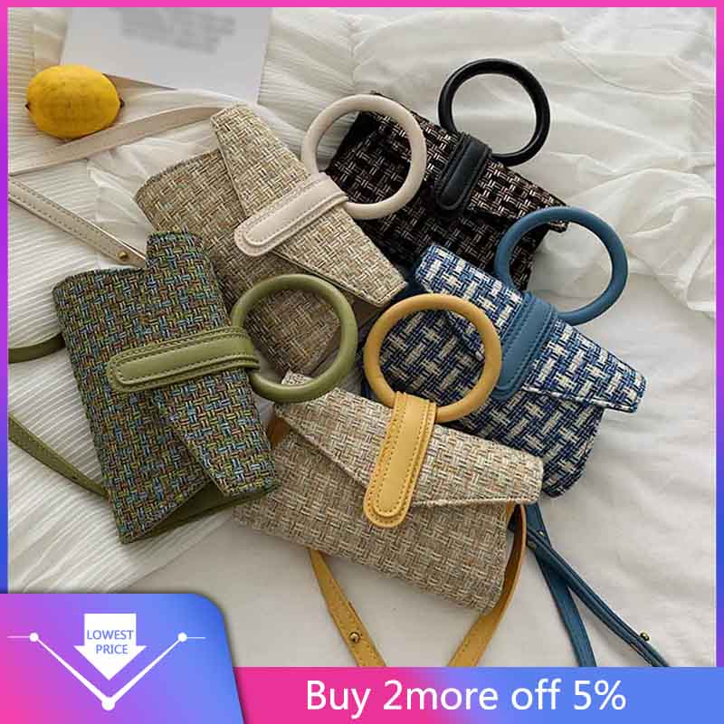 Women's Fashion Woven Bag Woven Waist Bag Woven Shoulder Bag Messenger Bag Knitting  Waist Pack Bag Famale Fashion