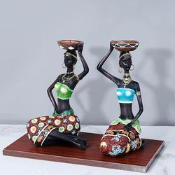 2pcs/set African Woman Statue Resin Craft Home Decoration Sculpture Candle Holder Retro Style Simple Home Decor Ornaments Gift