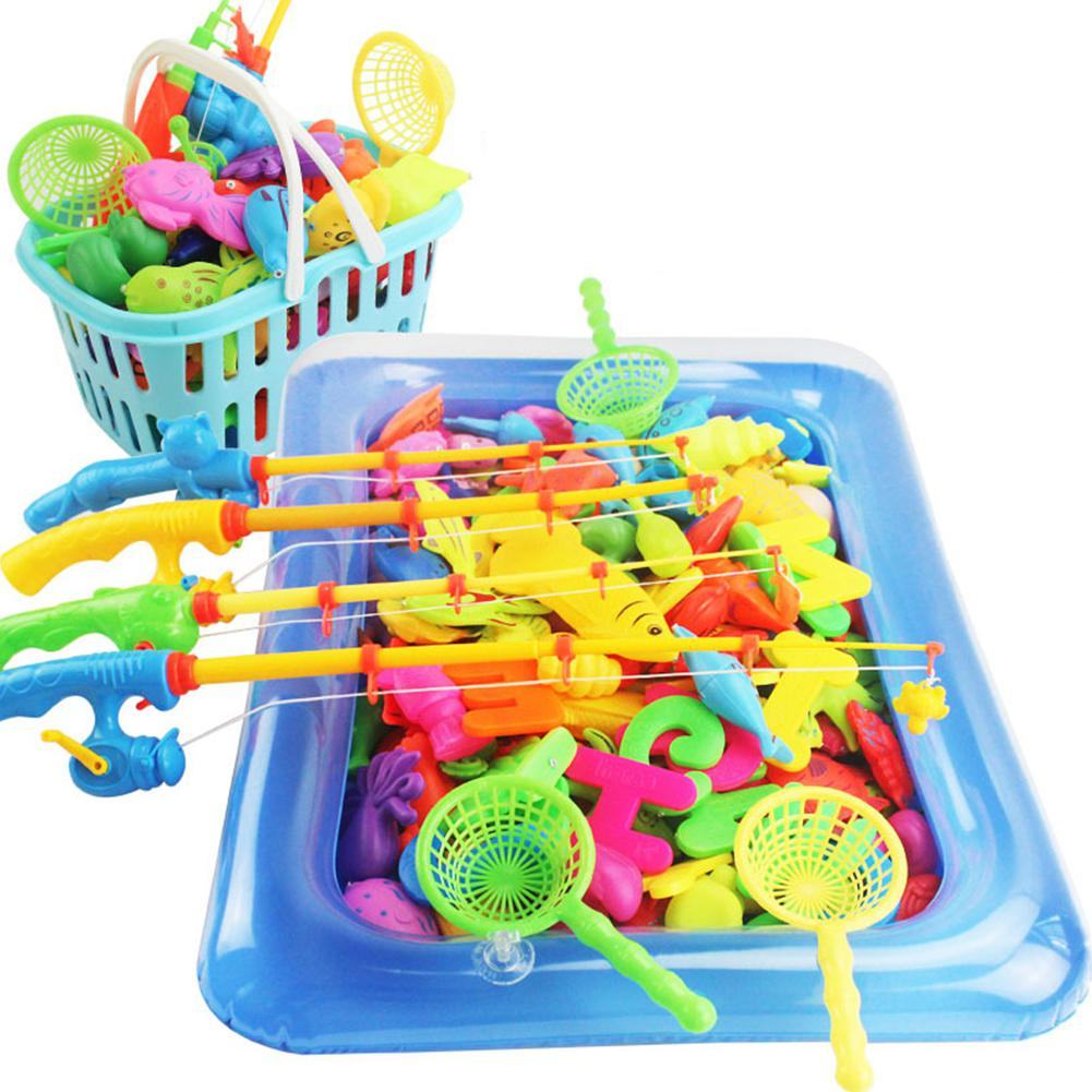Funny Magnetic Fishing Toys Game Set For Kids For Bath Time Pool Party With Pole Rod Net Plastic Floating Fish