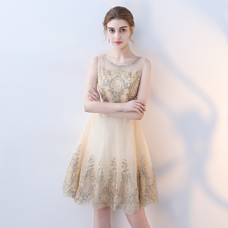 Bridesmaid Mission Dress 2019 New Style Short Dress-Style Slimming Performance Host Banquet Elegant Evening Gown