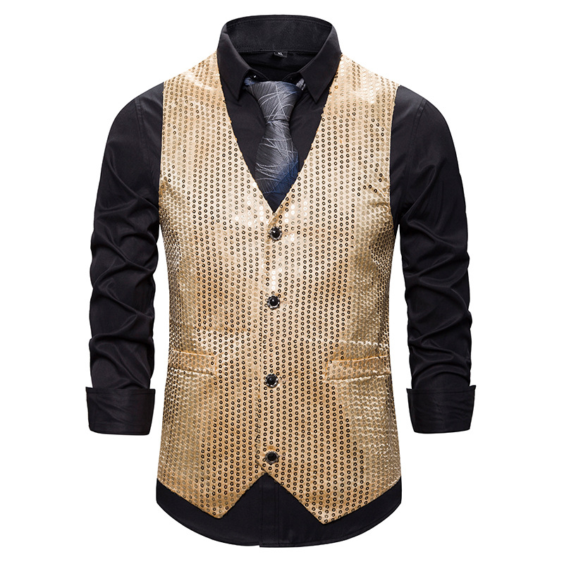 Mens Shiny Gold Sequins Suit Vest DJ Club Party Dress Vest Waistcoat Men Wedding Groom Prom Tuxedo Vests Male Chaleco Hombre XXL