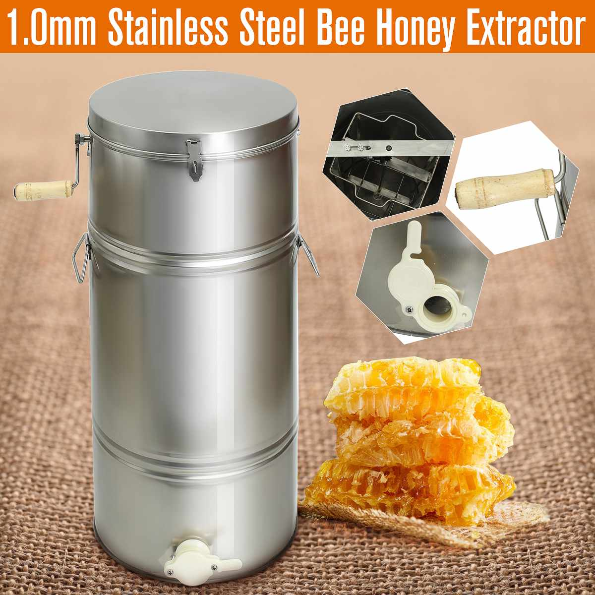 2 Frame Honey Extractor Stainless Steel Beekeeping Machine Tool Box Honey Extractor Supplies Beekeeping Equipment