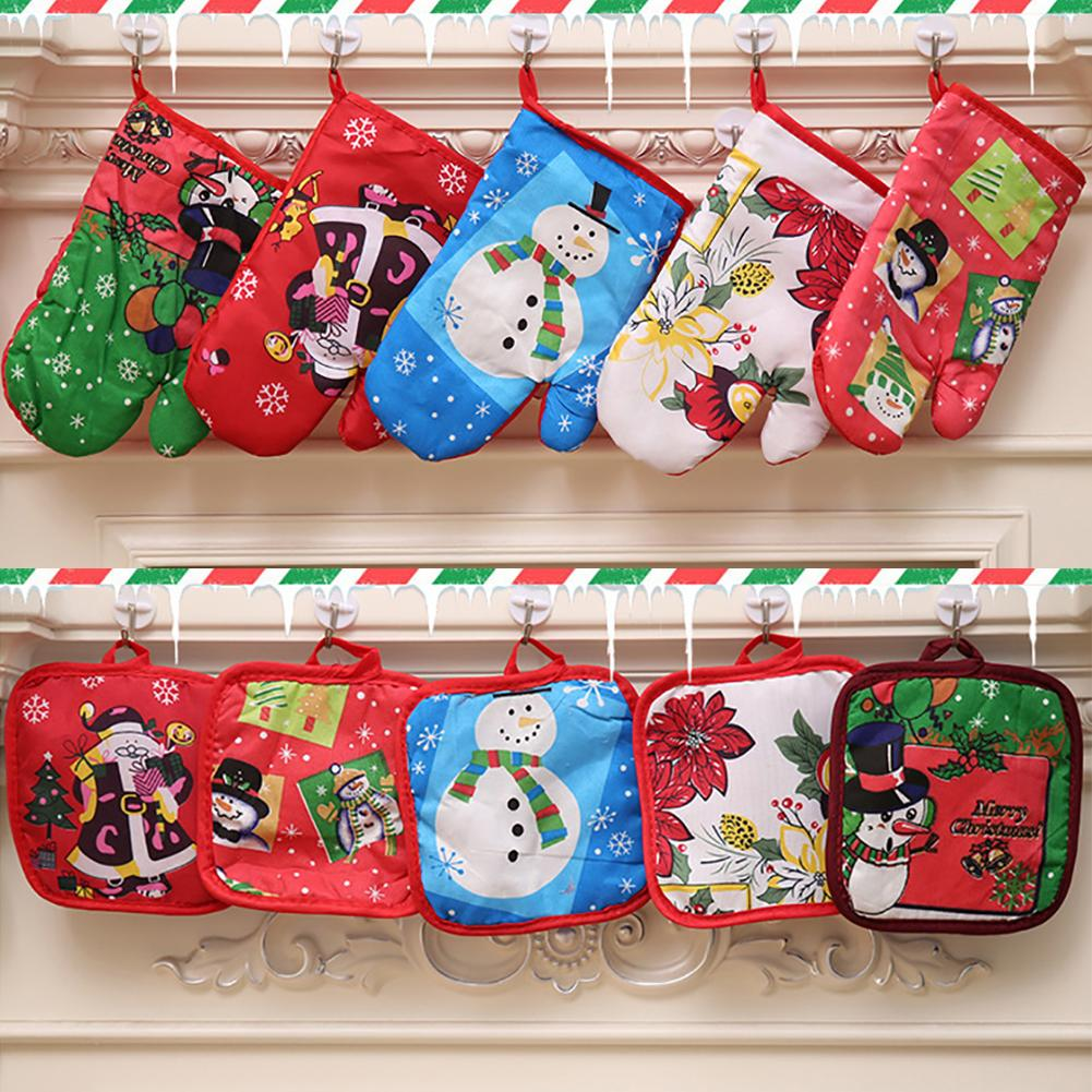 2pcs set Christmas Baking Anti Hot Gloves Pad Oven Dining BBQ Kitchen Mat New Year 2020 Navidad Xmas Party Decoration Supplies in Stockings Gift Holders from Home Garden