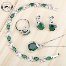 Green Zircon Women Silver 925 Costume Jewelry Sets Pendant Necklace Bracelets Earrings Rings With Stones Set Jewelery Gift Box