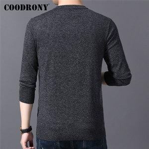 Image 3 - COODRONY suéter informal de punto para hombre, Jersey de algodón con cuello redondo, jersey de lana para hombre, moda de otoño e invierno, 91080