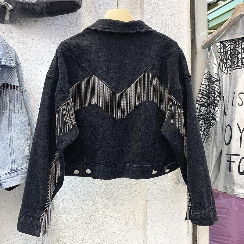 Denim Short Jacket Women's 2020 Spring Fall New Chains ...