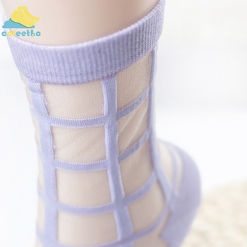Fashion Women Glass Crystal Silk Socks Cool Girl Lady Summer Transparent Grid Mesh Socks Knit Sheer Thin Meias Sox Kapron Socks