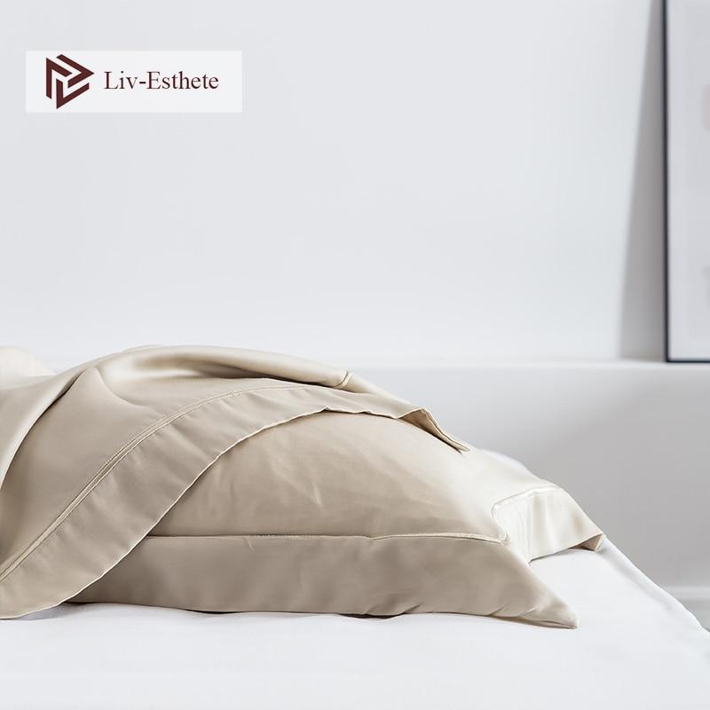 Liv-Esthete Luxury 100% Silk Noble Pillowcase Silky Healthy Hair 25 Momme Silk Pillow Case For Women Men Adult Kid Free Shipping