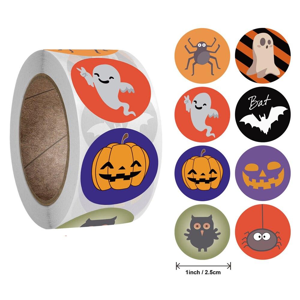 50-500 pièces Halloween rond autocollants étiquettes auto-adhésives bonbons sacs autocollants paquet joint cadeau emballage étanchéité artisanat