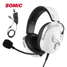 SOMIC G805 7.1 Virtual PS4 Gaming Headset Wired Stereo Headphones With Microphone 3.5mm USB Plug For Xbox Laptop PC Games somic g941 headphones for computer gaming headset with microphone wired usb bass headphone for pc