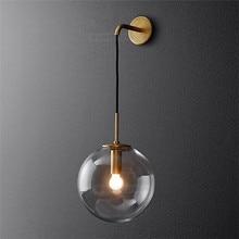Nórdico moderno lâmpadas de parede do vintage led bola vidro espelho ao lado do quarto luz sala estar decoração luzes parede para casa luminárias