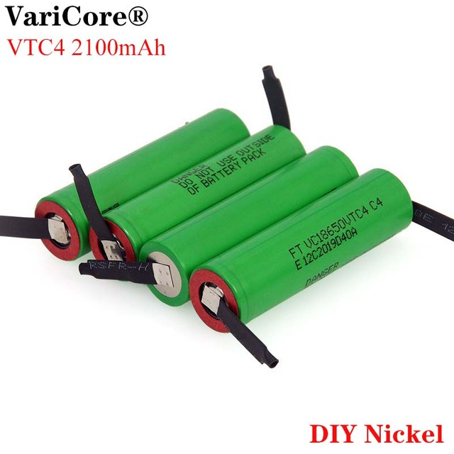 VariCore batería recargable de alto drenaje 30A, 100% Original, 3,6 V, 18650 VTC4, 2100mAh, VC18650VTC4 + hoja de níquel de DIY