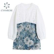 Mulheres emendadas floral camisa vestido coreano vintage elegante manga longa vestidos de colheita escritório senhoras temperamento chique impressão