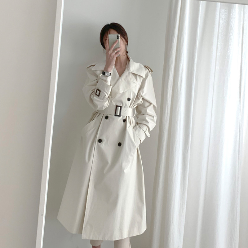 Women Autumn Trench Coat with belt Long Sleeve Double Breasted Long Female Pocket Straight casual Windbreaker Femme Overcoat