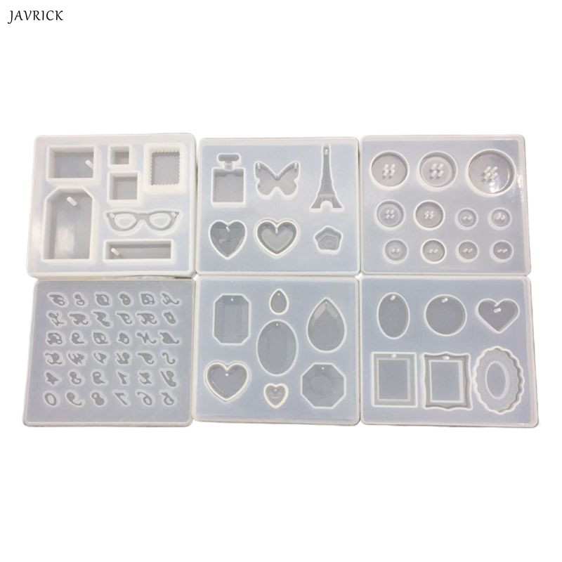 6 Pcs/set Crystal Epoxy Pendant Mold DIY Diamond Digital Letter Button Silicone Mould Manual Decorative Ornaments