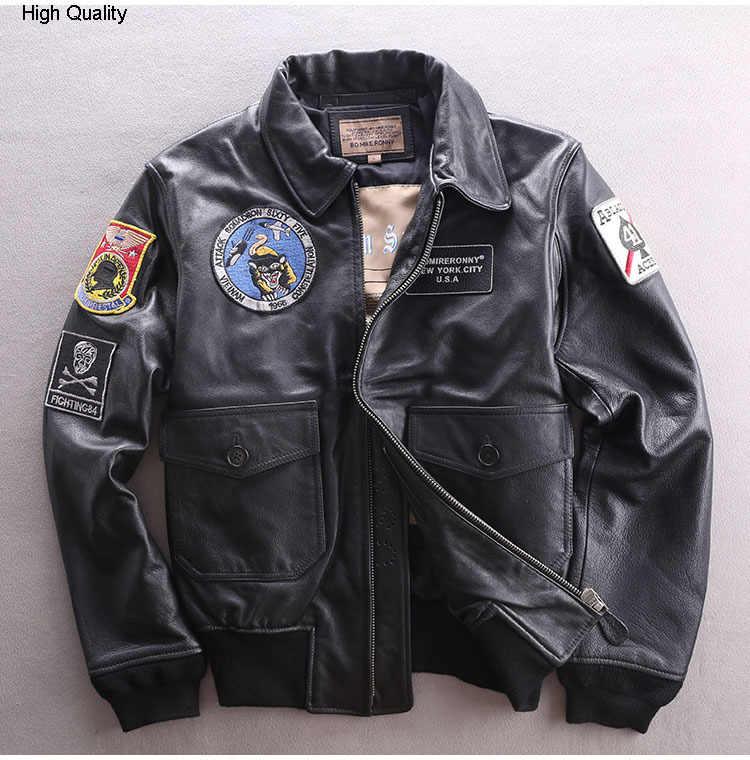 Oryginalna męska kurtka pilotka Air Force kurtka ze skóry wołowej Bomber krótki motocykl Biker prawdziwy płaszcz skórzany męski