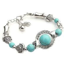 Natural Stones Turquoise Bracelet Classic Luxury Women Summer Unique Design Beaded Bracelet Charm Bracelet For Women Jewelry(China)