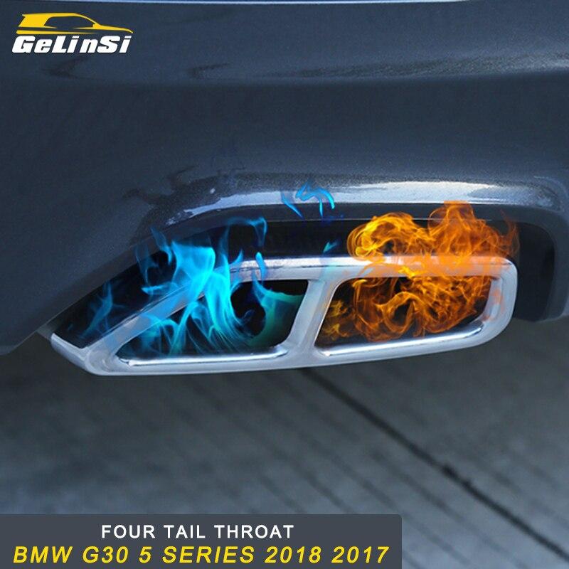 GELINSI pour BMW G30 5 Series 2018 2017 voiture style queue tuyaux d'échappement silencieux cadre couverture garniture autocollant accessoire extérieur