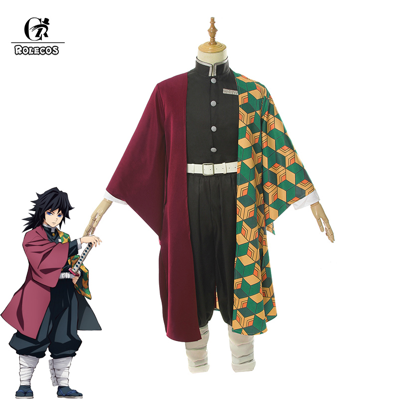 ROLECOS Anime Demon Slayer Cosplay Costumes Tomioka Giyuu Cosplay Costume Halloween Men Kimetsu No Yaiba Uniform Cloak