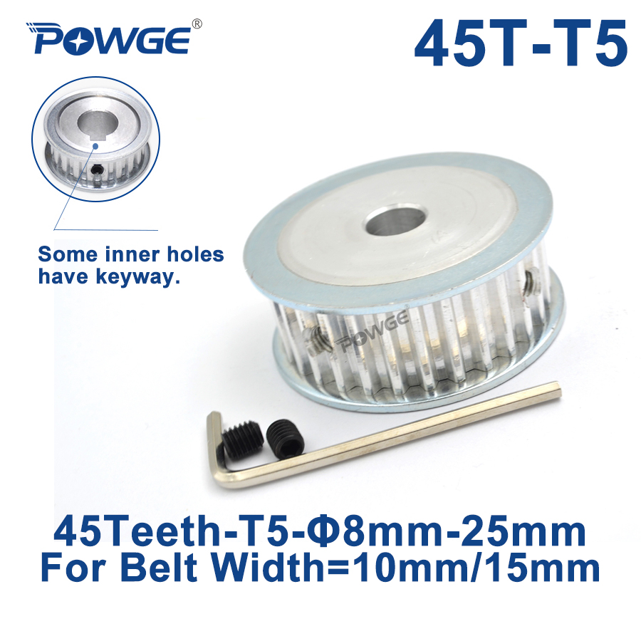 POWGE 45 Teeth T5 Timing Synchronous pulley Bore 8/10/12/14/15/19/20/22/25mm for belt width 10/15mm 45-T5-15 AF Gear 45teeth 45T