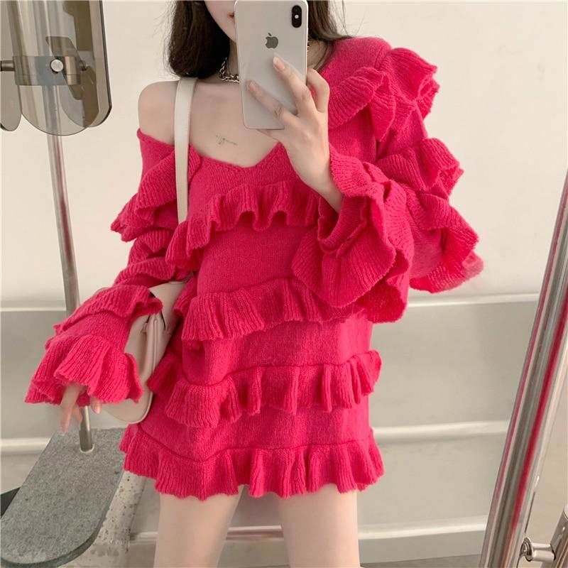 Купить платье женское трикотажное многослойное милый свободный пикантный