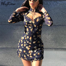 Hugcitar 2019 langarm rüschen bandage floral mini kleid herbst winter frauen party streetwear elegante outfits(China)