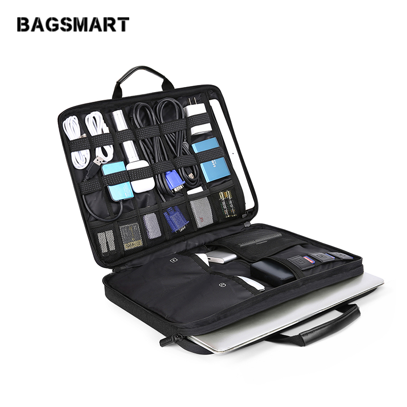 BAGSMART 13-14 Inch Laptop Sleeve Case With Electronics Accessories Organizer Laptop Accessories Bag Waterproof Notebook Handbag