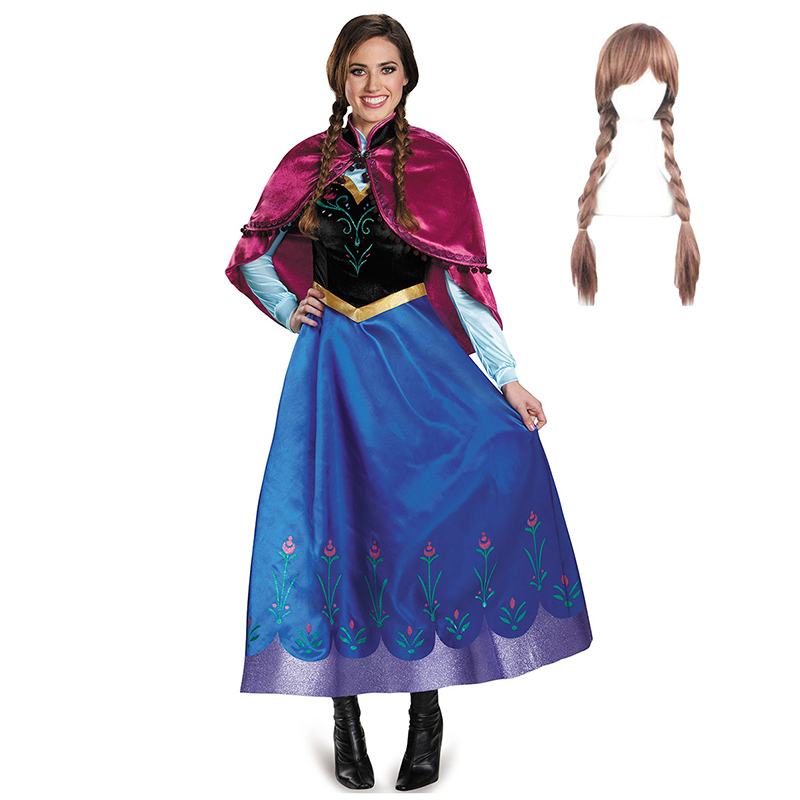 Adult Anna Elsa Dress Cosplay Costume Girl Women Princess Anna Dress With Removable Cloak Halloween Birthday Party Frozen Queen