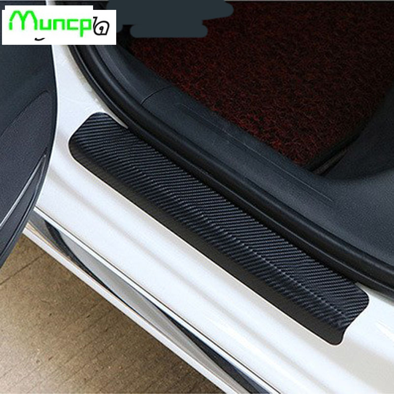 4 pcs. Car Carbon fiber sticker Stickers Threshold Cover Anti Scratch Sticker for Kia Hyundai <font><b>Mitsubishi</b></font> Mazda 2 3 5 6 CX5 CX7 image