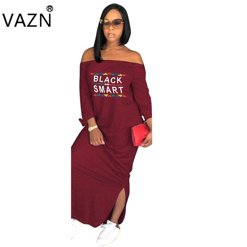 VAZN осень специальный Стиль поступление лучшее качество 2018 женское Макси-Платье с надписью Slash шеи длинный рукав Свободные Открытое платье ...