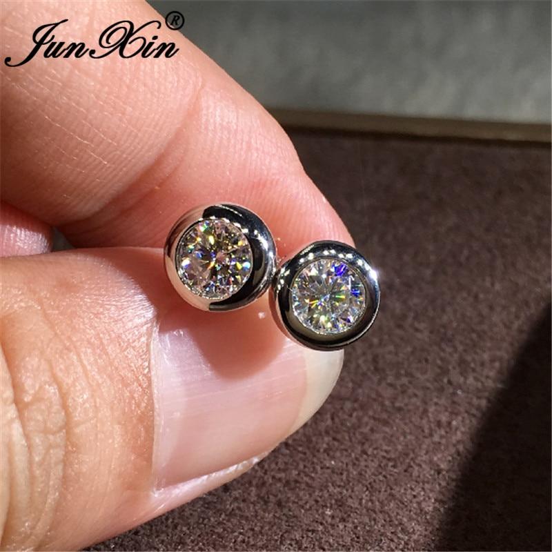 Небольшие круглые серьги для женщин и мужчин, нежные серьги-гвоздики с белым, золотым, розовым и золотым покрытием, с белыми кристаллами, Сва...