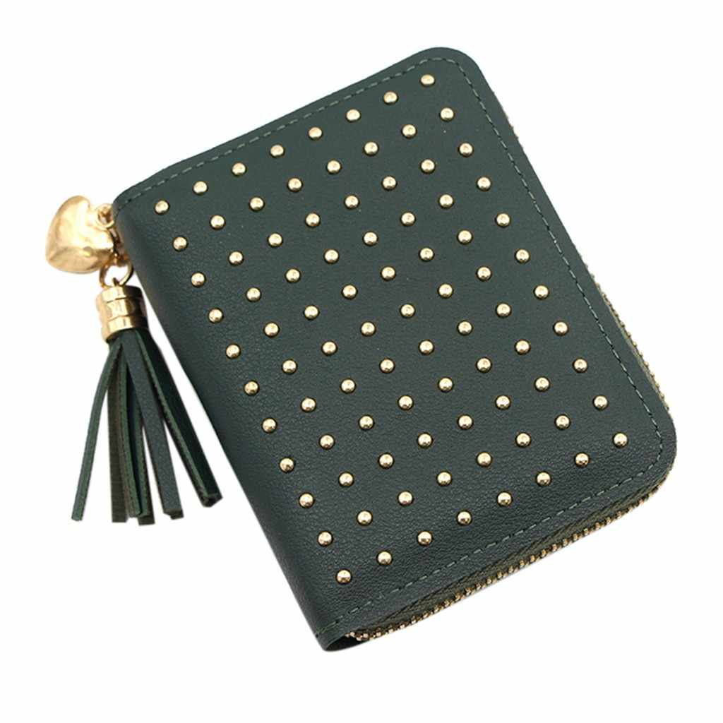 Moda feminina tendência cor sólida curto borla rebite couro escuro titular do cartão carteira t bolsa feminina #35