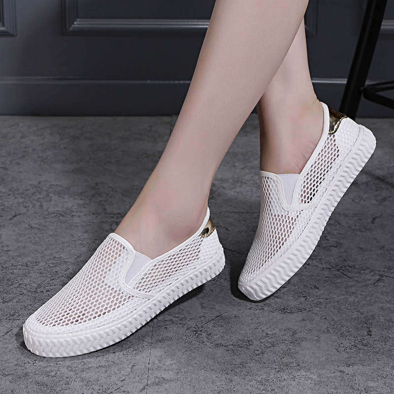 2019 New Style Small White Shoes Women's Summer Punched Sheet Shoes Canvas Shoes Korean-style Versatile Lazy White Shoes Slip-on