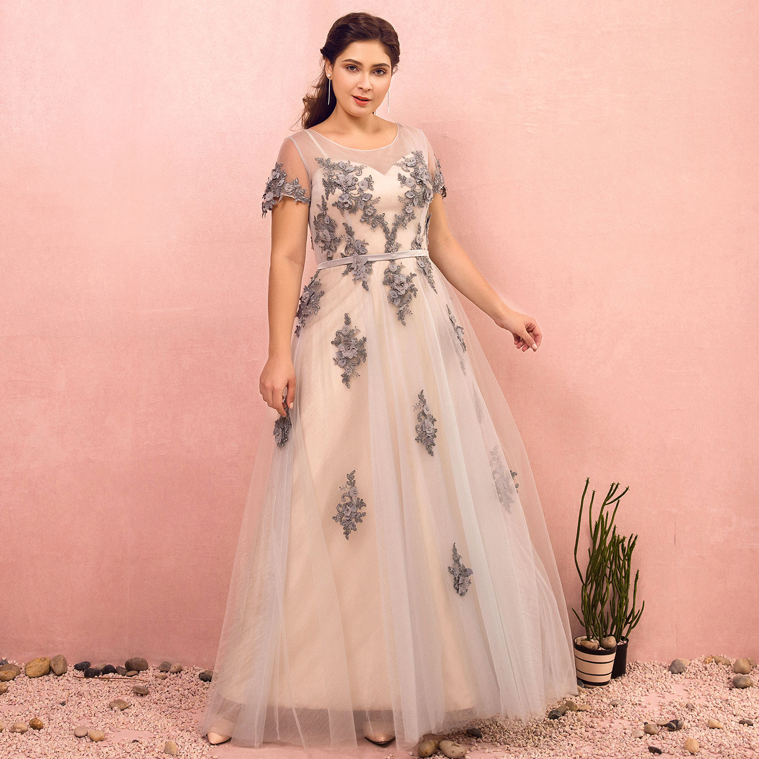 Evening Dresses 2019 Fashion A-line Bateau Natural Floor-length Lace-up T-shirt Party Gown