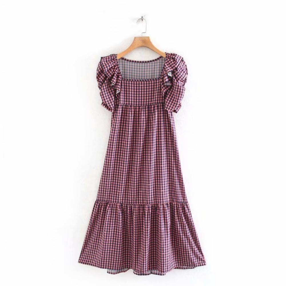 New women vintage square collar plaid print midi dress female pleated ruffles puff sleeve casual vestidos chic dresses DS3450