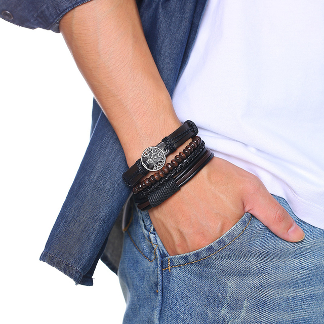 Vnox 3/4Pcs/ Set Braided Wrap Leather Bracelets for Men Vintage Life Tree Rudder Charm Wood Beads Ethnic Tribal Wristbands 2
