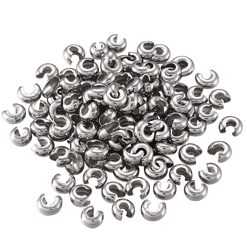 Pandahall 200 Pcs 304 Stainless Steel Crimp Beads Covers For Jewelry Findings DIY Making Stainless Steel Color 4.5mm Hole: 2mm