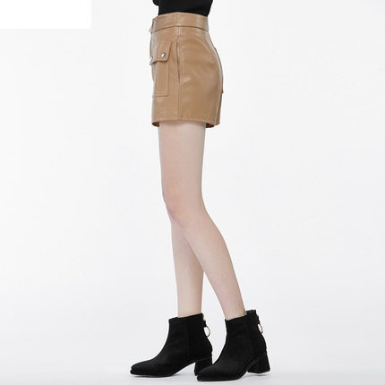 New Spring Women PU Leather Black Shorts Female Fashion Casual Shorts Tops Sex Clasical Office Lady Work Wear LX127
