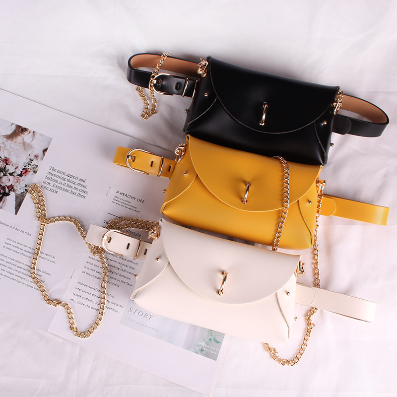 2020 Women PU Waist Packs  Large Size Leather Waist Belt With Pouch Bag Long Chain Crossbody SHoulder Bag Female Wallet Flap Bag